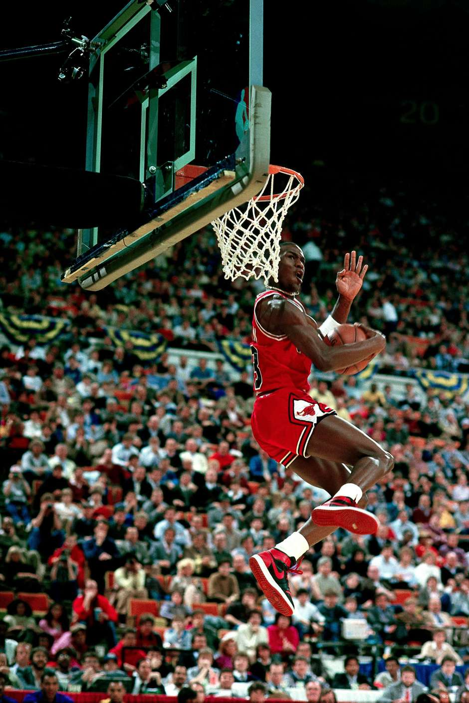Michael Jordan competes in the NBA All Star Slam Dunk Competition